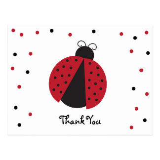 Cute Lady Bug Birthday Thank You Postcard