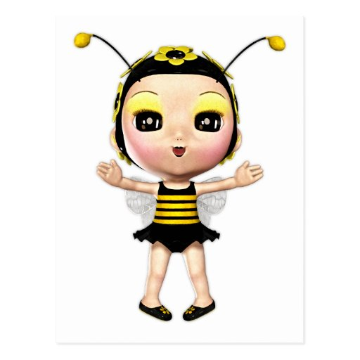 Cute Lady Bumblebee Fairy Doll 2 Post Cards