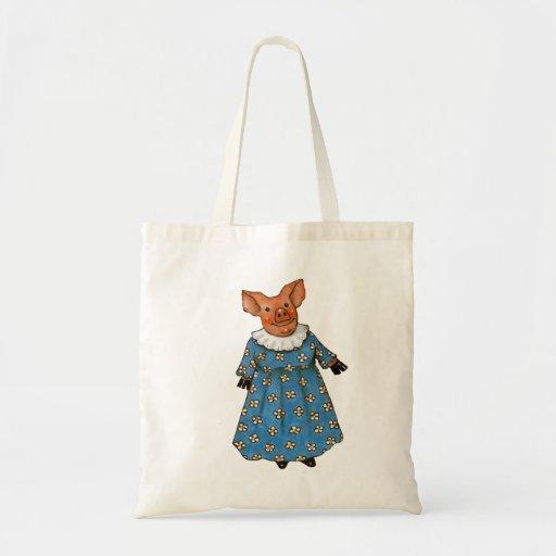Cute Lady Pig With Dress: Original Art Bag