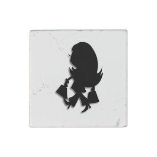 Cute Lady Shopper Stone Magnet
