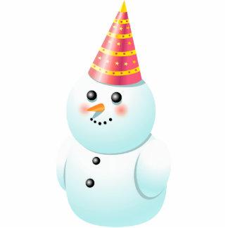 Cute Lady Snowman Cartoon Cutout
