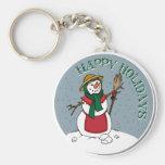 Cute Lady Snowman Round Design Keychains