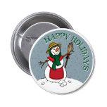 Cute Lady Snowman Round Design Pinback Button