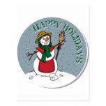 Cute Lady Snowman Round Design Post Card