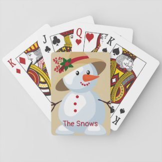 Cute Lady Snowman with Hat/ Playing Cards