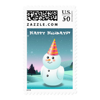 Cute Lady Snowman With Party Hat Postage