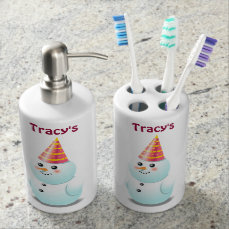 Cute Lady Snowman With Pink Party Hat Soap Dispenser And Toothbrush Holder