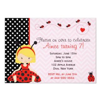 Cute Ladybird Ladybug girl design Card
