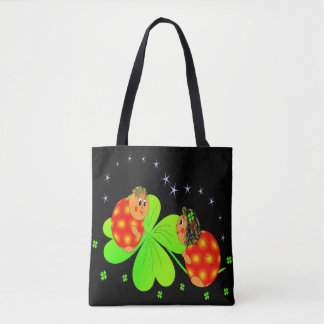 Cute Ladybird Shamrock Tote Bag