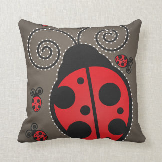 Cute Ladybug American Mojo Throw Pillow