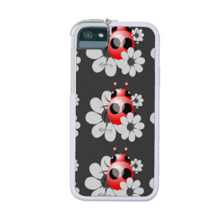 Cute ladybug and black and white Daisies iPhone 5/5S Case