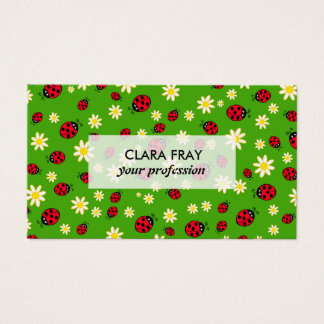 cute ladybug and daisy flower pattern green business card