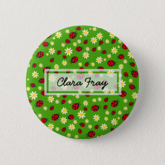 cute ladybug and daisy flower pattern green button