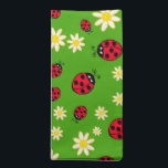 "cute ladybug and daisy flower pattern green cloth napkin<br><div class=""desc"">Cute and trendy pattern featuring hand drawn cartoon of ladybugs and daisies on a green background.</div>"
