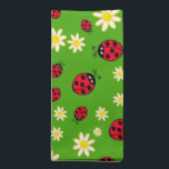 """cute ladybug and daisy flower pattern green cloth napkin<br><div class=""""desc"""">Cute and trendy pattern featuring hand drawn cartoon of ladybugs and daisies on a green background.</div>"""