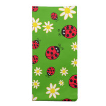 cute ladybug and daisy flower pattern green cloth napkin
