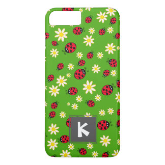 cute ladybug and daisy flower pattern green iPhone 8 plus/7 plus case