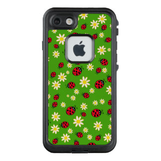 cute ladybug and daisy flower pattern green LifeProof FRĒ iPhone 7 case