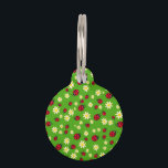 """cute ladybug and daisy flower pattern green pet name tag<br><div class=""""desc"""">Cute and trendy pattern featuring hand drawn cartoon of ladybugs and daisies on a green background.</div>"""