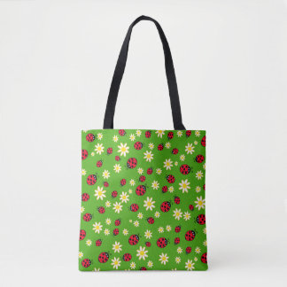 cute ladybug and daisy flower pattern green tote bag