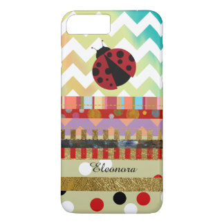 cute ladybug and different stripes iPhone 7 plus case