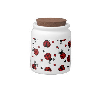 Cute Ladybug and Hearts Pattern Candy Dishes