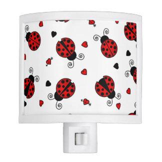 Cute Ladybug and Hearts Pattern Nite Lite
