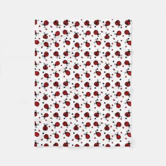 Cute Ladybug and Hearts Pattern Fleece Blanket