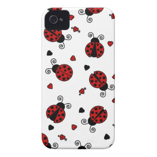 Cute Ladybug and Hearts Pattern iPhone 4 Case-Mate Case