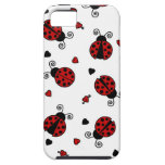 Cute Ladybug and Hearts Pattern iPhone 5 Cover