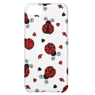 Cute Ladybug and Hearts Pattern iPhone 5C Case