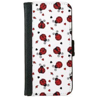 Cute Ladybug and Hearts Pattern iPhone 6/6s Wallet Case
