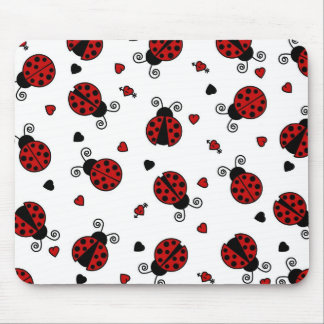 Cute Ladybug and Hearts Pattern Mouse Pad
