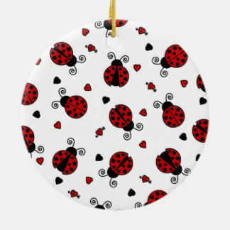 Cute Ladybug and Hearts Pattern Ornament