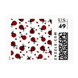 Cute Ladybug and Hearts Pattern Postage