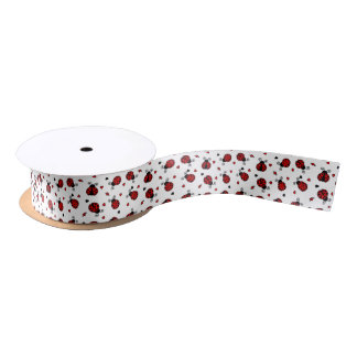 Cute Ladybug and Hearts Pattern Satin Ribbon
