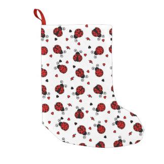 Cute Ladybug and Hearts Pattern Small Christmas Stocking