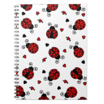 Cute Ladybug and Hearts Pattern Spiral Notebook