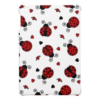 Cute Ladybug and Hearts Pattern - White and Red iPad Mini Cover