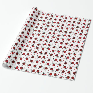 Cute Ladybug and Hearts Pattern Wrapping Paper
