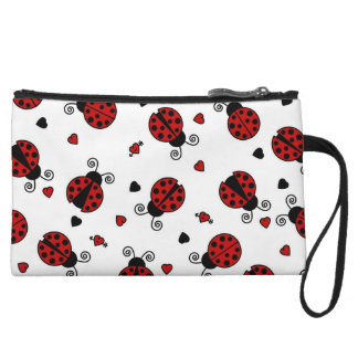 Cute Ladybug and Hearts Pattern Wristlet Wallet