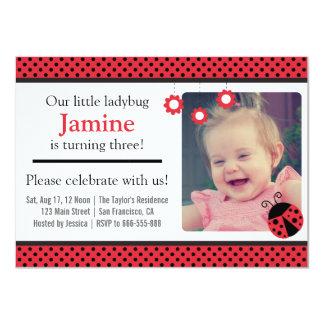 Cute Ladybug and polka dots birthday party Card