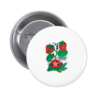 cute ladybug and strawberries buttons