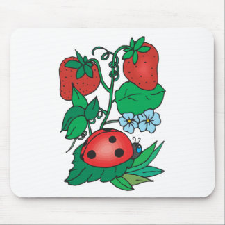 cute ladybug and strawberries mouse pad
