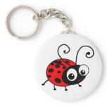 Cute Ladybug Basic Round Button Keychain