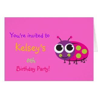 Cute Ladybug Birthday Invitation