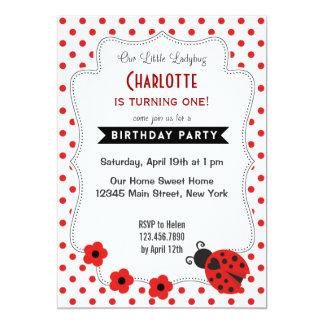 Cute Ladybug Birthday Invitation Red Polkadot Personalized Invites