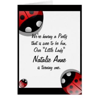 Cute Ladybug Birthday Invitation Template