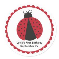 Cute Ladybug Birthday Party Favor Classic Round Sticker