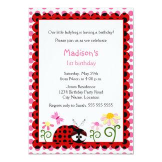 Cute Ladybug Birthday Party Invitation